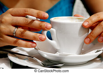 woman, cup of coffee and cigarette