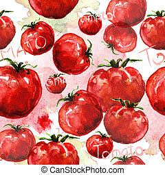 Tomato seamless texture watercolor