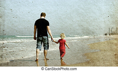 father and daughter on the beach Photo in old image style