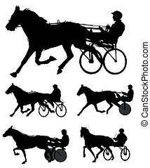 trotters race silhouettes - vector