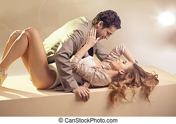 Beloved young couple touching each other - Beloved sensual...