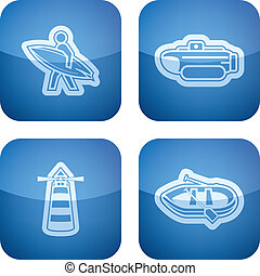 Ships and boats - 4 vector icons related to ships, boats and...