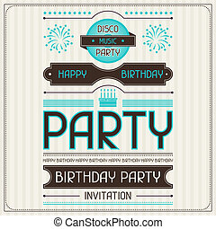 Invitation card for birthday in retro style