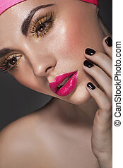 Glamour portrait of beautiful woman model with fresh makeup...