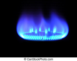 Natural gas, bringing warmly on a black background
