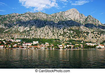 Mountain harbour and village in the Kotor bay(Montenegro).