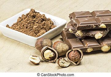 Milk chocolate and hazelnuts
