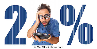 Iva italian tax with shocked boy on white background