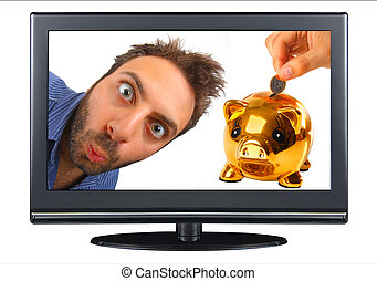 Wow expression in the tv with piggy bank