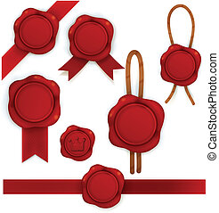 Collection of red sealing wax - Vector File EPS10