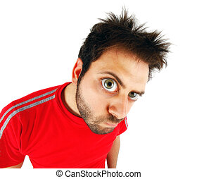 Wow expression with red t-shirt - Young boy with a surprised...