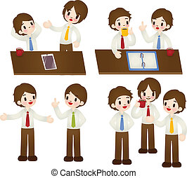 Businessman in various pose - Vector file EPS10