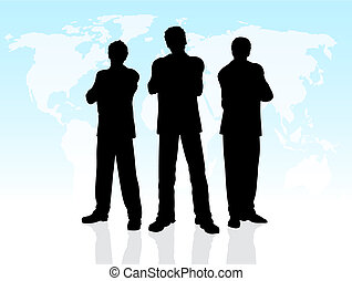 Business men - Silhouettes of business men on a world map...