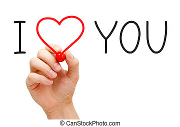 I Love You - Hand writing I Love You with red marker on...