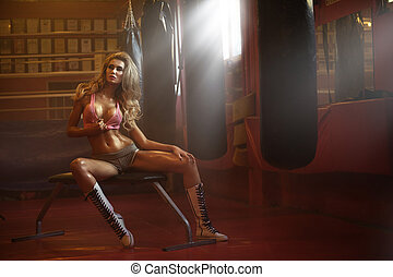 Marvelous blonde fit woman during training - Marvelous...