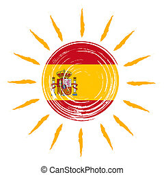 Spanish flag in sun - Spanish flag in drawn sun with yellow...