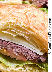 gourment roast beef sandwich on croissant - roast beef...