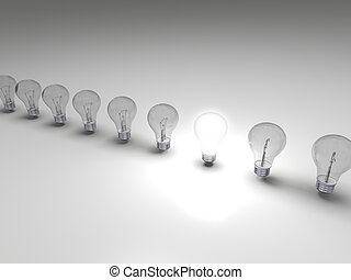 Bright idea - Row of lightbulbs, concept of one bright idea