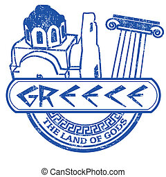 Greece the land of Gods stamp - Grunge rubber stamp with the...
