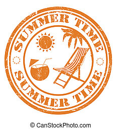 Summer time stamp - Summer time grunge rubber stamp, vector...