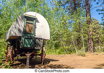 Covered Wagon in a Forest - Old West style covered wagon in...