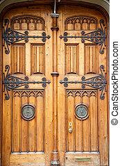 de madera, latón, viejo, accesorios, puertas