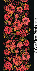 Red and black poppy flowers vertical seamless pattern border