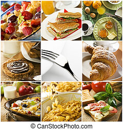 collage - healthy breakfast collage made from nine...