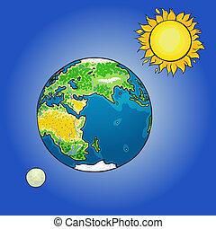 Globe, sun, moon - Vector illustration of the sun, moon and...