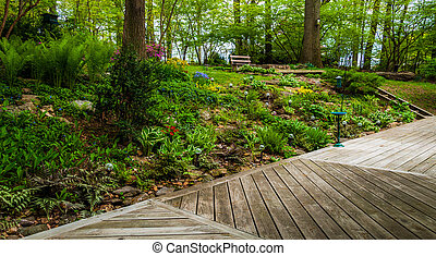 Deck and colorful woodland garden with tall ferns and...