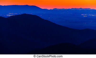 Lights in the Shenandoah Valley and ridges of the...
