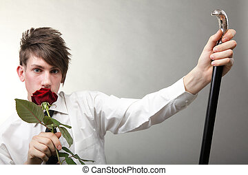 Portrait young man and rose enamoured love