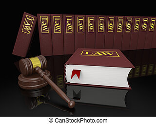 Legal library - Gavel and law books, symbols of law and...