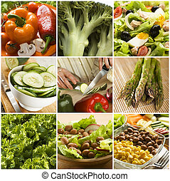 collage - colorful healthy vegetables collage made from nine...