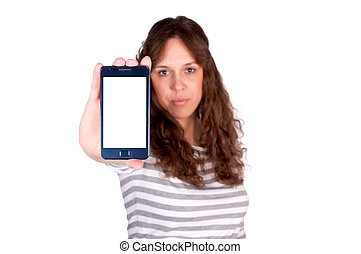 Blank screen - Female holding cell phone with blank screen....