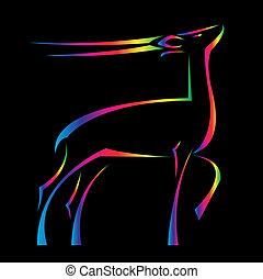 Vector image of an barking deer on black background