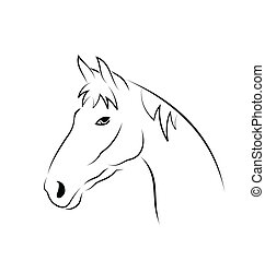 Outline head horse isolated on white background -...