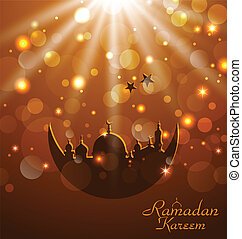 Celebration glowing card for Ramadan Kareem - Illustration...