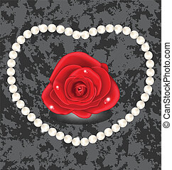 Red rose with heart made in pearl - Illustration red rose...