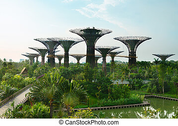Gardens by the Bay Singapore with supertrees - Gardens by...