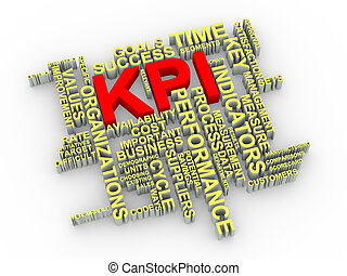 3d KPI word tags - 3d illustration of KPI Key Performance...