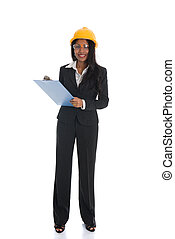 African American woman architect smiling white background