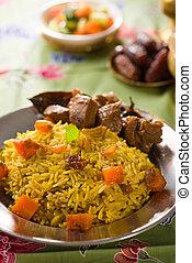 agneau, nourriture, ramadan, tandoor, arabe, milieu, riz,...