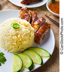 chicken rice, singapore malaysian food with materials as background