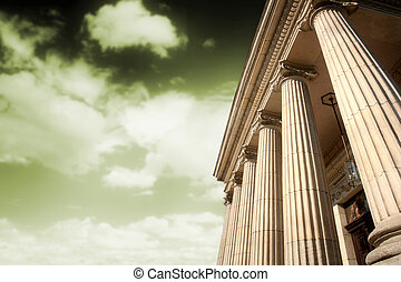 Greek pillars - Picture of large greek freestone columns .