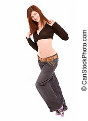 young woman in jeans