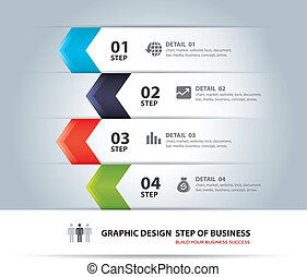business step paper and number - Vector business step paper...