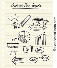 drawing business plan concept - vector drawing business plan...