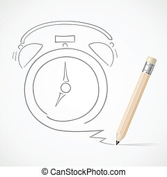 Pencil drawing Alarm clock, EPS10, Don't use transparency.