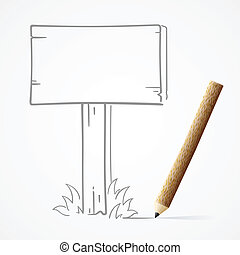 Pencil drawing Wooden board, EPS10, Don't use transparency.